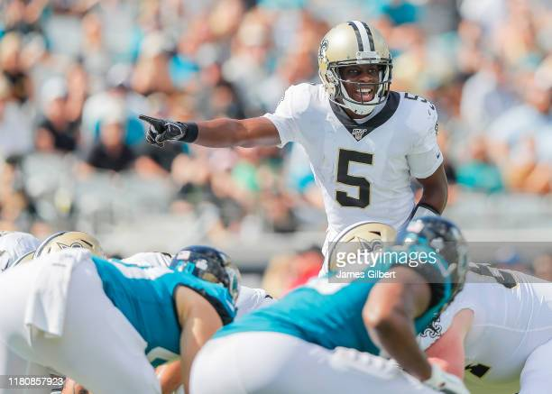 Teddy Bridgewater of the New Orleans Saints looks on during the third quarter of a game against the Jacksonville Jaguars at TIAA Bank Field on...