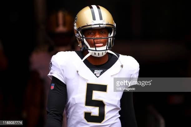 Teddy Bridgewater of the New Orleans Saints looks on from the tunnel before the game against the Tampa Bay Buccaneers on November 17, 2019 at Raymond...