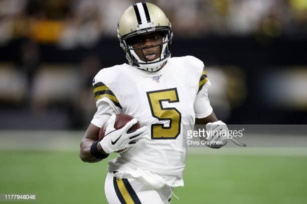 Teddy Bridgewater of the New Orleans Saints runs the ball against the Dallas Cowboys during the first quarter in the game at Mercedes Benz Superdome...