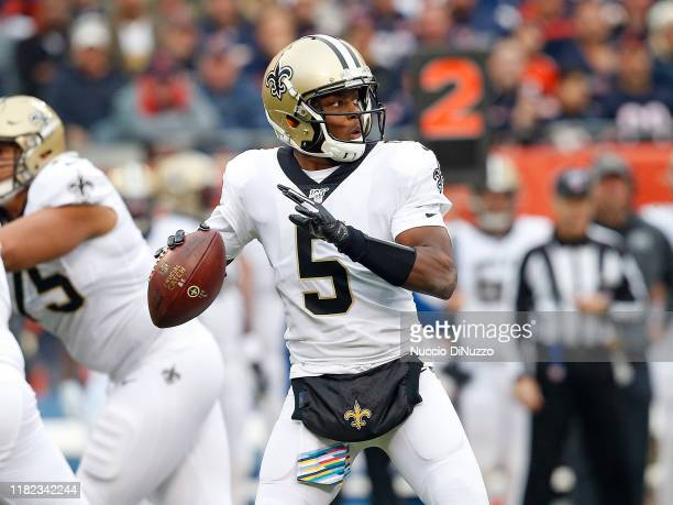 Teddy Bridgewater of the New Orleans Saints throws a pass against the New Orleans Saints during the first half at Soldier Field on October 20, 2019...