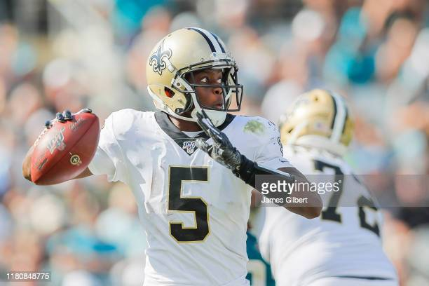Teddy Bridgewater of the New Orleans Saints throws a pass during the third quarter of a game against the Jacksonville Jaguars at TIAA Bank Field on...