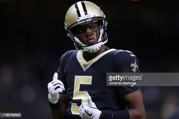 Teddy Bridgewater of the New Orleans Saints warms up before a game against the Arizona Cardinals at the Mercedes Benz Superdome on October 27, 2019...