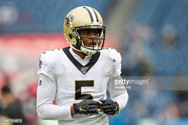 Teddy Bridgewater of the New Orleans Saints warms up before a game against the Tennessee Titans at Nissan Stadium on December 22, 2019 in Nashville,...