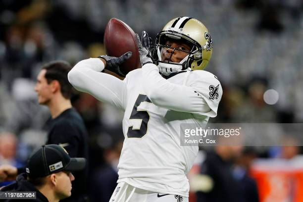 Teddy Bridgewater of the New Orleans Saints warms up before the NFC Wild Card Playoff game against the Minnesota Vikings at Mercedes Benz Superdome...