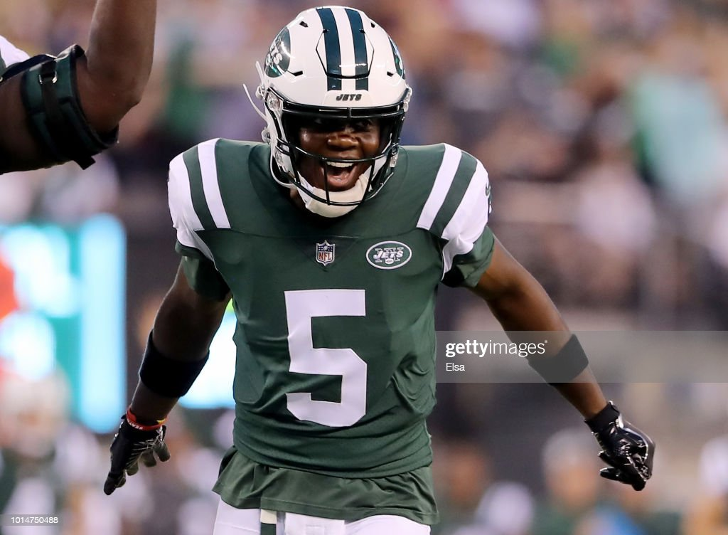 Teddy Bridgewater #5 of the New York Jets celebrates a touchdown from teammate Isaiah Crowell in the first quarter against the Atlanta Falcons during a preseason game at MetLife Stadium on August 10, 2018 in East Rutherford, New Jersey.