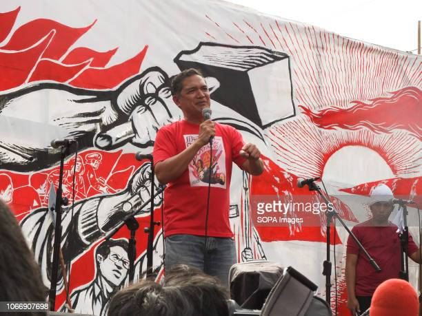 Teddy Casiño of Bayan Muna party list seen speaking to the protesters during the protest Leftist groups stage Bonifacio Day of protest in Mendiola...