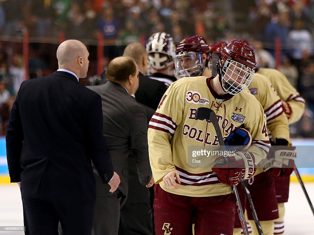 Teddy Doherty #4 of the Boston College Eagles skates off the ice after shaking hands with the winning Union College Dutchmen during the 2014 NCAA Division I Men's Hockey Championship Semifinal at Wells Fargo Center on April 10, 2014 in Philadelphia, Pennsylvania.Union College defeated Boston College 5-4.