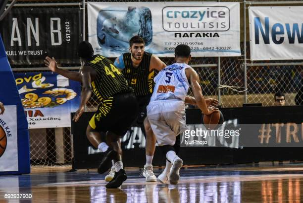 Teddy Okereafor attacking for Kymi during Championship Basket League match between GSKymis and Aris BC at Kanithou quotTKampouris' gym in Halkida...