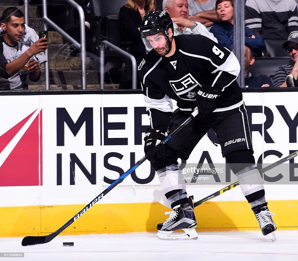 Teddy Purcell #9 of the Los Angeles Kings handles the puck during the game against the Anaheim Ducks on September 28, 2016 at STAPLES Center in Los Angeles, California.