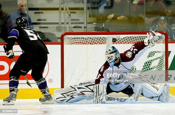 Teddy Purcell of the Los Angeles Kings scores the gamewinning goal in an overtime shootout against goalie Jason Bacashihua of the Colorado Avalanche...