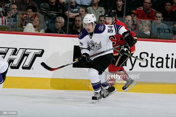 Teddy Purcell of the Los Angeles Kings skates against the Calgary Flames on January 18 2008 at Pengrowth Saddledome in Calgary Alberta Canada