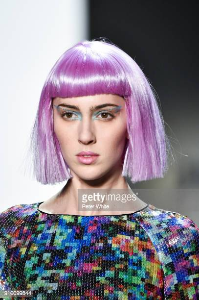 Teddy Quinlivan walks the runway at Jeremy Scott Show Fall 2018 during New York Fashion Week The Shows at Gallery I at Spring Studios on February 8...