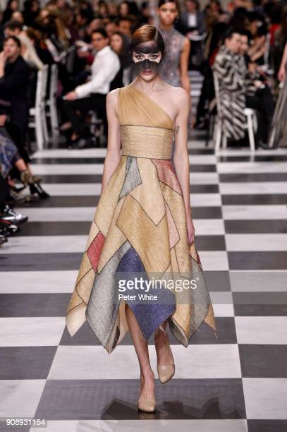 Teddy Quinlivan walks the runway during the Christian Dior Spring Summer 2018 show as part of Paris Fashion Week on January 22 2018 in Paris France