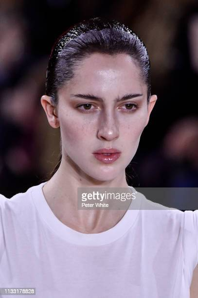 Teddy Quinlivan walks the runway during the Haider Ackermann show as part of the Paris Fashion Week Womenswear Fall/Winter 2019/2020 on March 02 2019...