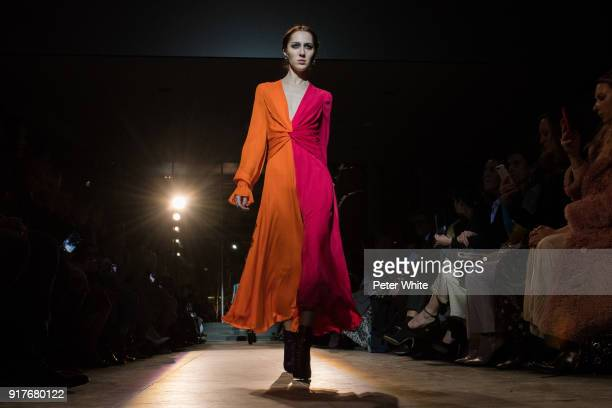 Teddy Quinlivan walks the runway for Carolina Herrera during New York Fashion Week at The Museum of Modern Art on February 12 2018 in New York City