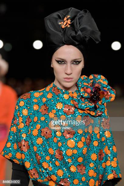 Teddy Quinlivan walks the runway for Marc Jacobs SS18 fashion show during New York Fashion Week at Park Avenue Armory on September 13 2017 in New...