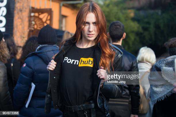 Teddy Quinlivan wears a black Pornhub tshirt after the DSquared2 show during Milan Men's Fashion Week Fall/Winter 2018/19 on January 14 2018 in Milan...