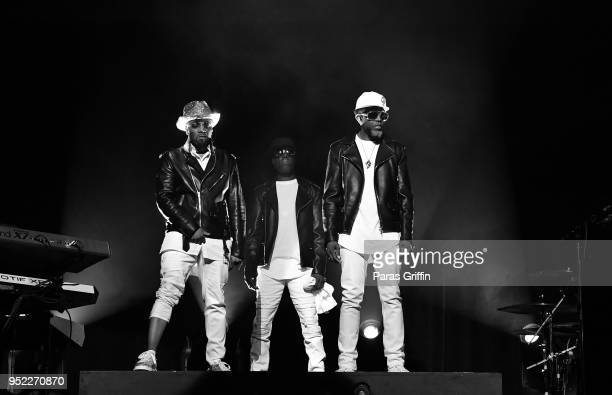 Teddy Riley Aaron Hall and Damion Hall of Guy perform in concert during 90's Block Party at Fox Theater on April 27 2018 in Atlanta Georgia