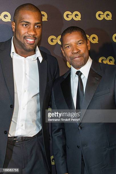 Teddy Riner and Denzel Washington attend the GQ Men of the year awards 2012 at Musee d'Orsay on January 16, 2013 in Paris, France.