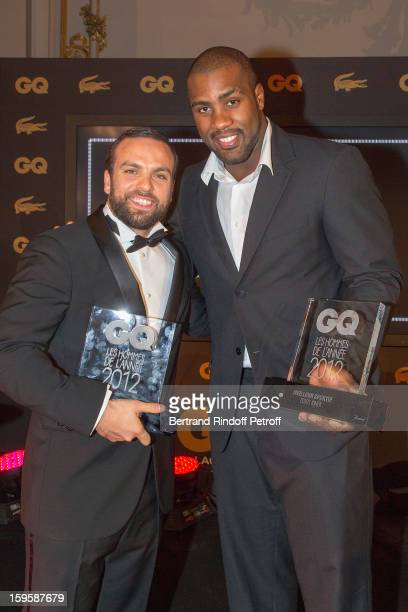 Teddy Riner and Sami Ameziane aka Comte de Bouderbala, attend the GQ Men of the year awards 2012 at Musee d'Orsay on January 16, 2013 in Paris,...
