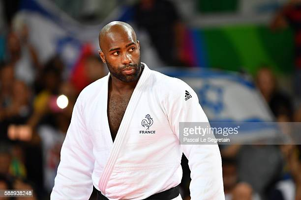 Teddy Riner attends his Men's +100kg Judo semifinal match on Day 7 of the Rio 2016 Olympic Games at Carioca Arena 2 on August 12, 2016 in Rio de...