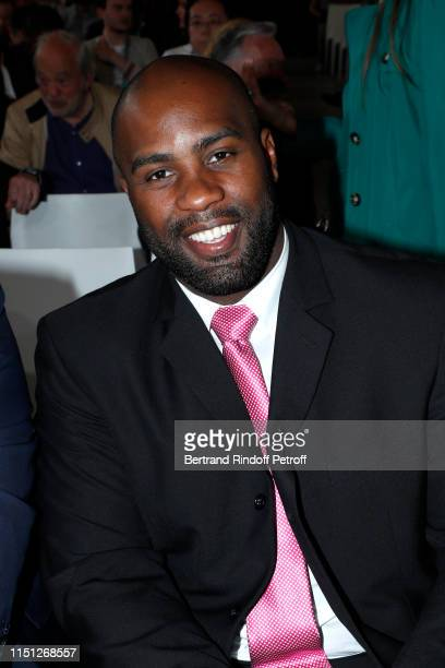"""Teddy Riner attends the 2019 Tennis French Open : Women's and Men's Singles Draw at the """"Orangerie"""" of the Garden of Serres d'Auteuil - Roland Garros..."""