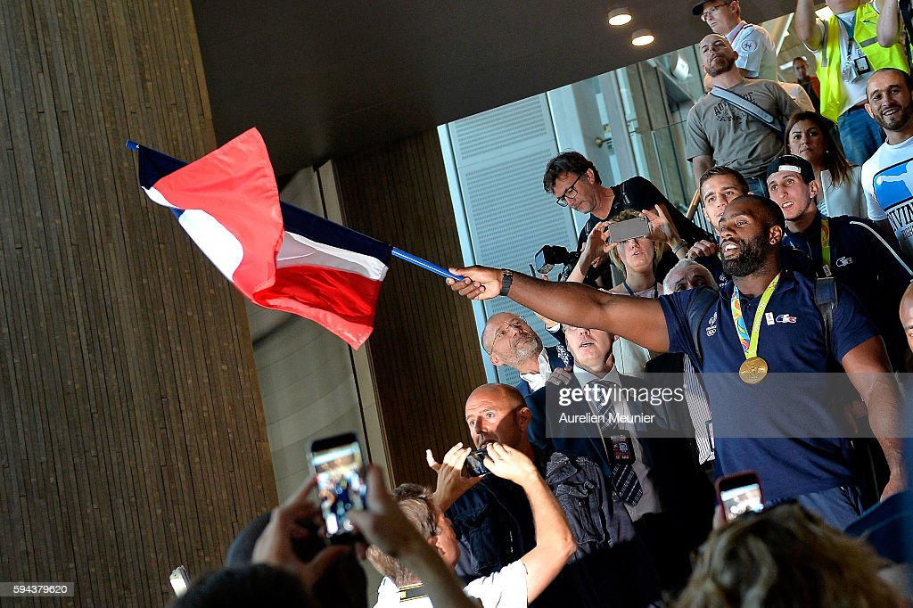 Teddy Riner, judo Gold medalist arrives at Roissy Charles de Gaulle airport after the Olympic Games in Rio on August 23, 2016 in Paris, France. Team France finished seventh in the medal table at the Rio Olympics, with a total of 42 medals.