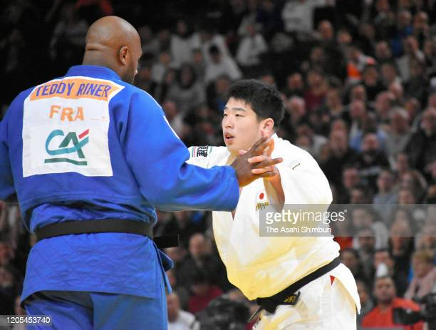 Teddy Riner of France and Kokoro Kageura of Japan compete in the Men's 100kg third round on day two of the Judo Grand Slam Paris on February 9 2020...