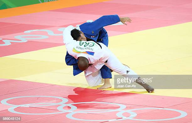 Teddy Riner of France competes against Hisayoshi Harasawa of Japan in the Men 100kg Final on day 7 of the 2016 Rio Olympic Games at Carioca Arena 2...