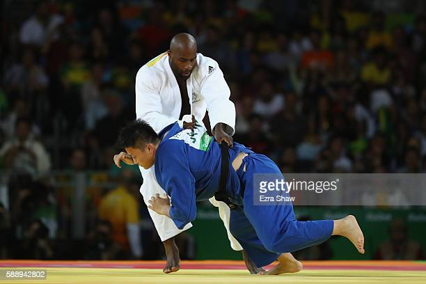 Teddy Riner of France competes against Hisayoshi Harasawa of Japan during the Men's 100kg Judo Gold Medal contest on Day 7 of the Rio 2016 Olympic...