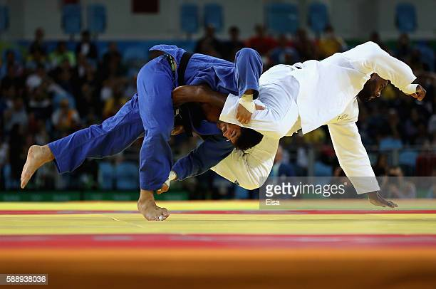 Teddy Riner of France competes against Or Sasson of Israel during the Men's +100kg Judo contest on Day 7 of the Rio 2016 Olympic Games at Carioca...
