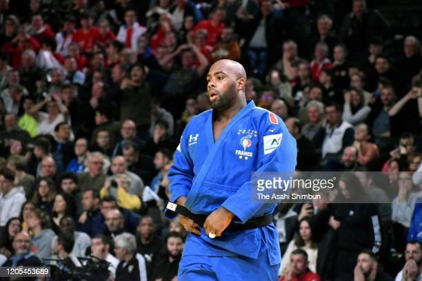 Teddy Riner of France shows dejection after his defeat by Kokoro Kageura of Japan in the Men's 100kg third round on day two of the Judo Grand Slam...