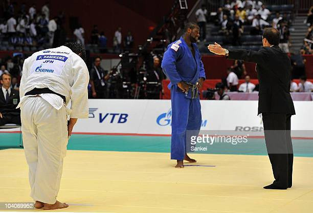 Teddy Riner of France shows his dejection after being defeated by Daiki Kamikawa of Japan in the Men's Open class during the day five of the World...