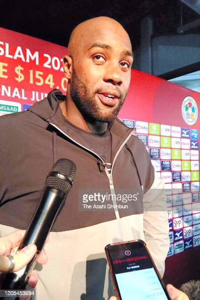 Teddy Riner of France speaks to media after his defeat by Kokoro Kageura of Japan in the Men's 100kg third round on day two of the Judo Grand Slam...