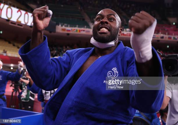 Teddy Riner of Team France celebrates victory over Team Japan during the Mixed Team Final to claim the gold medal on day eight of the Tokyo 2020...