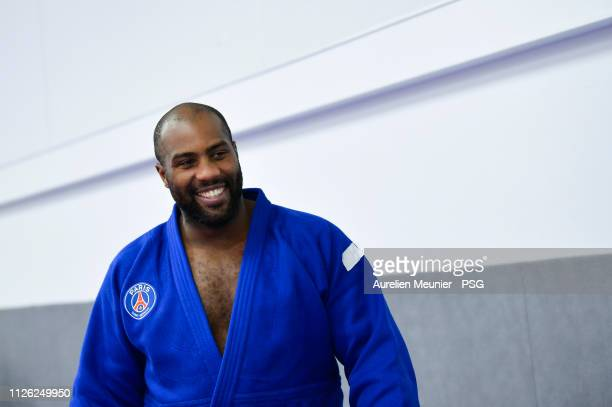 Teddy Riner reacts during a Paris Saint-Germain training session on January 30, 2019 in Paris, France.