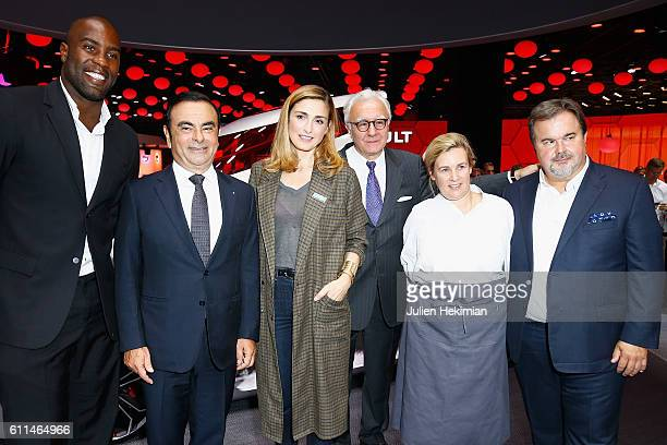 Teddy Riner Renault CEO Carlos Ghosn Julie Gayet Alain Ducasse Helene Darroze and Pierre Herme pose in front of the new concept car TreZor during the...