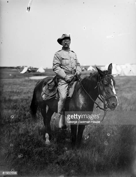 1898 Teddy Roosevelt on his horse while in Rough Rider uniform United States