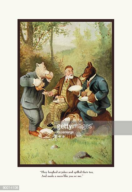 Teddy Roosevelt's Bears Teddy B and Teddy G at a Picnic