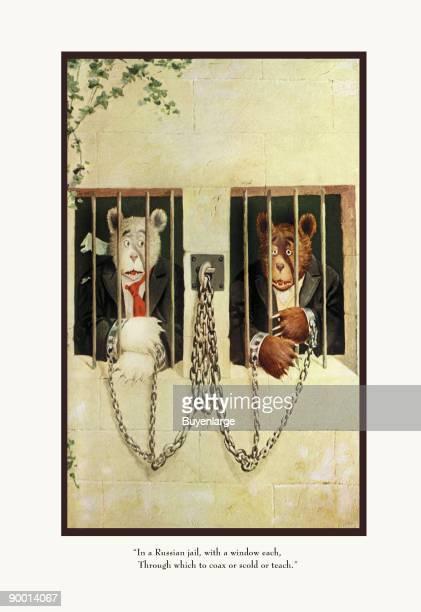 Teddy Roosevelt's Bears Teddy B and Teddy G in a Russian Jail