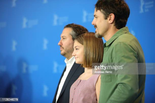Teddy Schwarzman Anna Pniowsky and Casey Affleck pose at the Light Of My Life photocall during the 69th Berlinale International Film Festival Berlin...