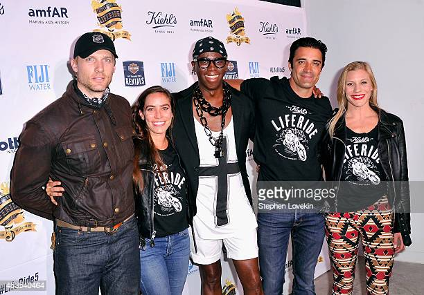 Teddy Sears, Melissa Sears, Miss J. Alexander, Gilles Marini and Katee Sackhoff attend Kiehl's LifeRide for amfAR co-hosted by FIJI Water on August...