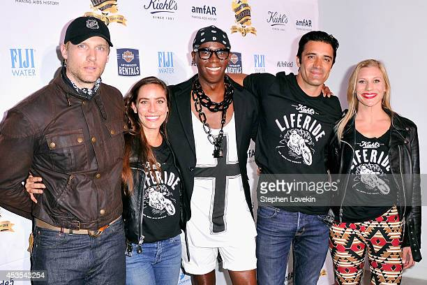 Teddy Sears Melissa Sears Miss J Alexander Gilles Marini and Katee Sackhoff attend Kiehl's LifeRide for amfAR cohosted by FIJI Water on August 12...