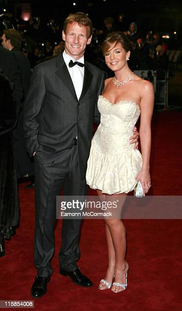 Teddy Sheringham and Danielle Lloyd during Casino Royale World Premiere Outside Arrivals at Odeon Leicester Square in London Great Britain