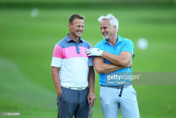 Teddy Sheringham and David Ginola look on during the BMW PGA Championship ProAm at Wentworth Golf Club on September 18 2019 in Virginia Water United...