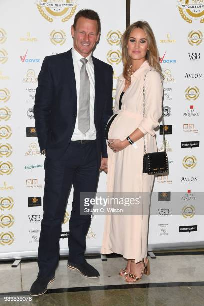 Teddy Sheringham and Kristina Andrioti attend the National Film Awards UK at Porchester Hall on March 28 2018 in London England
