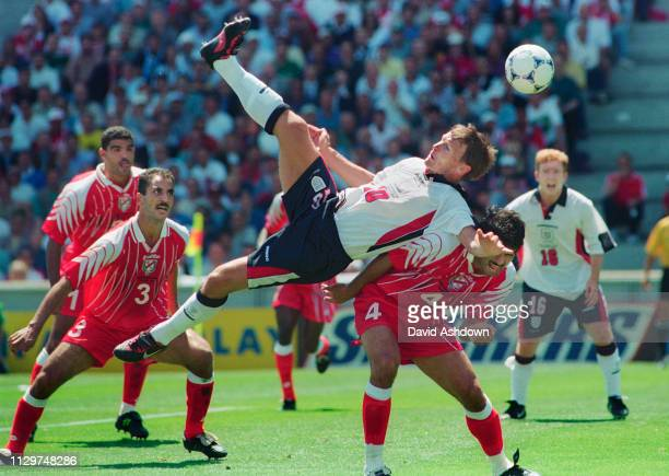 Teddy Sheringham during England v Tunisia at the Stade Velodrome, Marseille during the FIFA World Cup in France 15th June 1998.