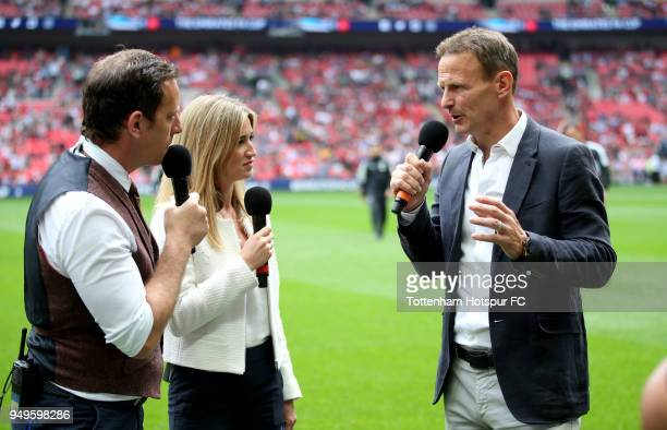 Teddy Sheringham former Manchester United and Tottenham Hotspur player is interviewed prior to The Emirates FA Cup Semi Final match between...