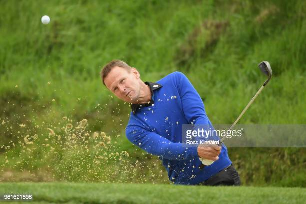 Teddy Sheringham hits from a bunker during the Pro Am for the BMW PGA Championship at Wentworth on May 23 2018 in Virginia Water England