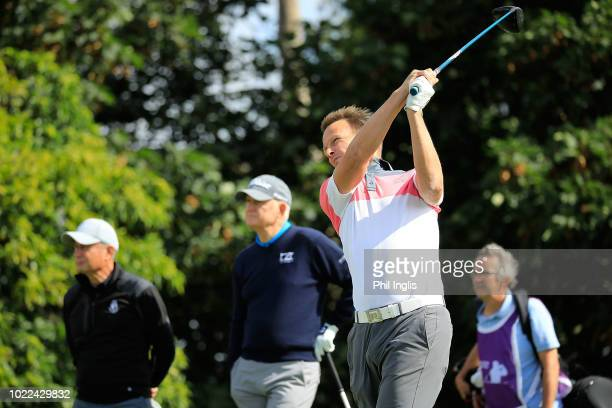 Teddy Sheringham in action during Day One of The Willow Senior Golf Classic played at Hanbury Manor Marriott Hotel and Country Club on August 24 2018...